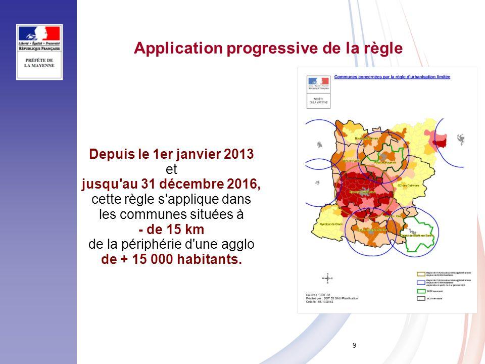 9 Application progressive de la règle Depuis le 1er janvier 2013 et jusqu'au 31 décembre 2016, cette règle s'applique dans les communes situées à - de