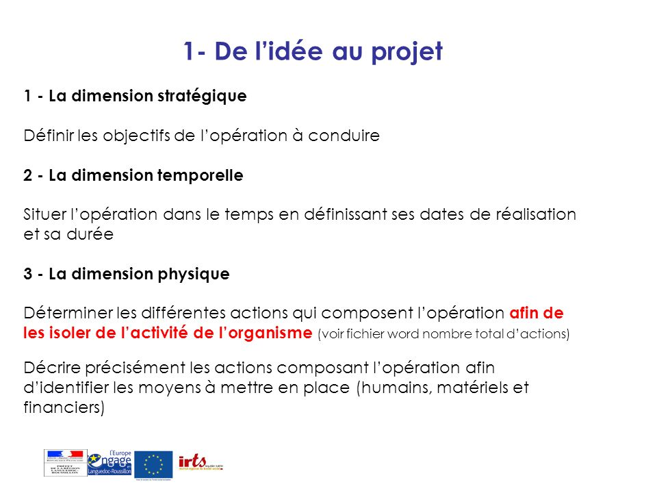 1- De lidée au projet 1 - La dimension stratégique Définir les objectifs de lopération à conduire 2 - La dimension temporelle Situer lopération dans l