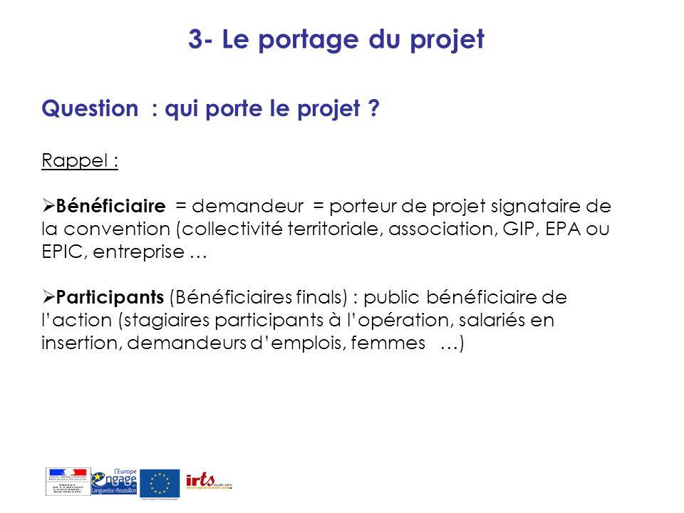 3- Le portage du projet Question : qui porte le projet ? Rappel : Bénéficiaire = demandeur = porteur de projet signataire de la convention (collectivi