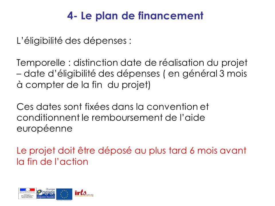 4- Le plan de financement Léligibilité des dépenses : Temporelle : distinction date de réalisation du projet – date déligibilité des dépenses ( en gén