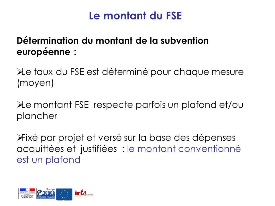 Le montant du FSE Détermination du montant de la subvention européenne : Le taux du FSE est déterminé pour chaque mesure (moyen) Le montant FSE respec