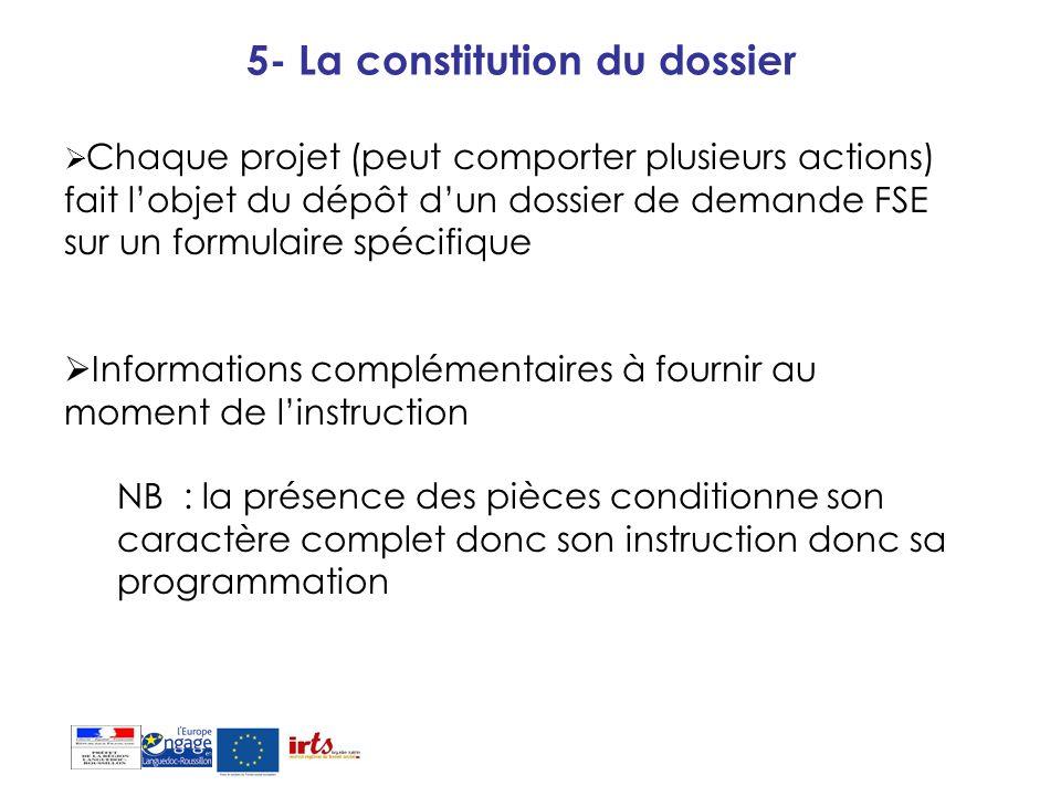 5- La constitution du dossier Chaque projet (peut comporter plusieurs actions) fait lobjet du dépôt dun dossier de demande FSE sur un formulaire spéci