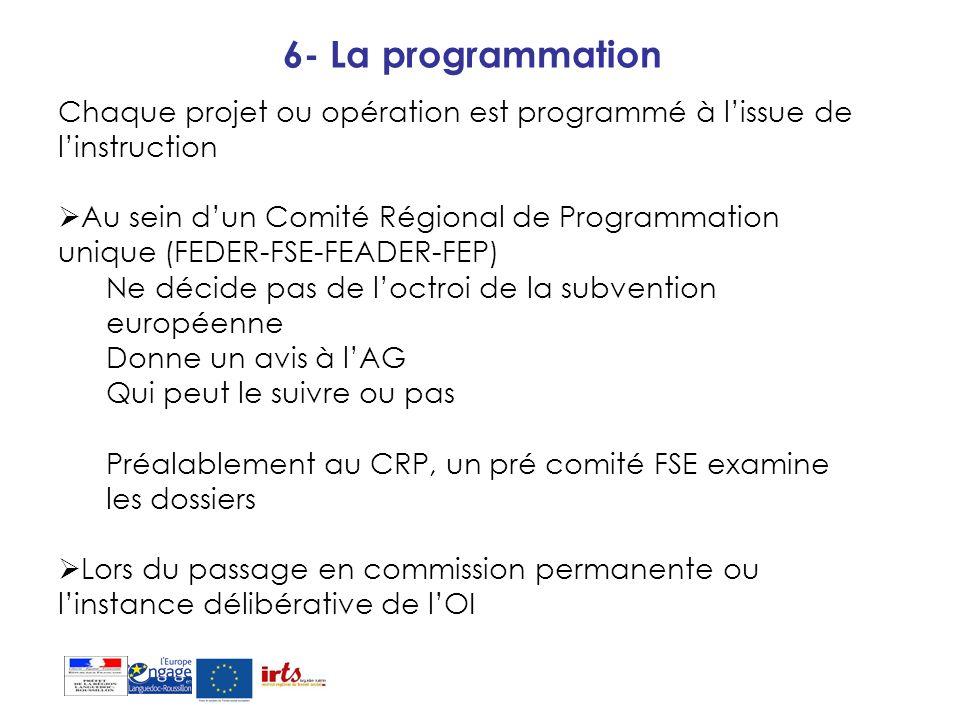 6- La programmation Chaque projet ou opération est programmé à lissue de linstruction Au sein dun Comité Régional de Programmation unique (FEDER-FSE-F
