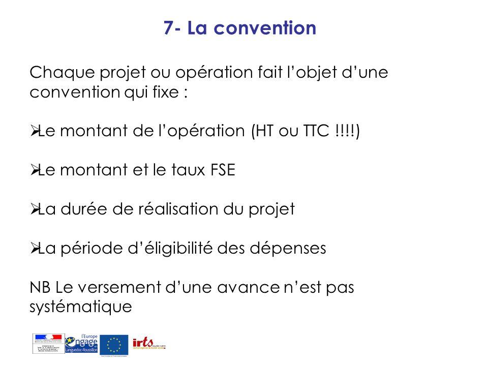 7- La convention Chaque projet ou opération fait lobjet dune convention qui fixe : Le montant de lopération (HT ou TTC !!!!) Le montant et le taux FSE