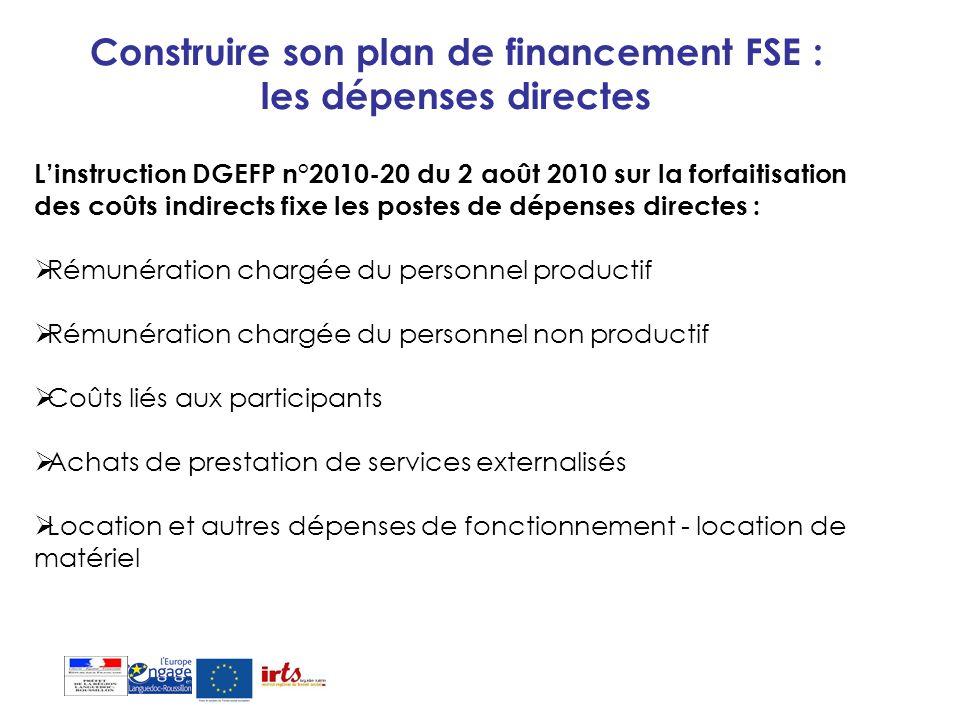 Construire son plan de financement FSE : les dépenses directes Linstruction DGEFP n°2010-20 du 2 août 2010 sur la forfaitisation des coûts indirects f