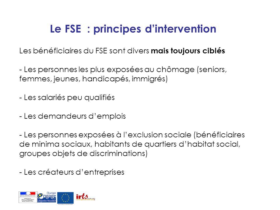Le FSE : principes dintervention Les bénéficiaires du FSE sont divers mais toujours ciblés - Les personnes les plus exposées au chômage (seniors, femm