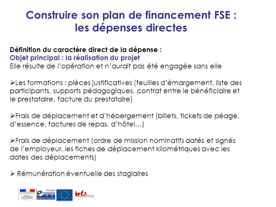 Construire son plan de financement FSE : les dépenses directes Définition du caractère direct de la dépense : Objet principal : la réalisation du proj