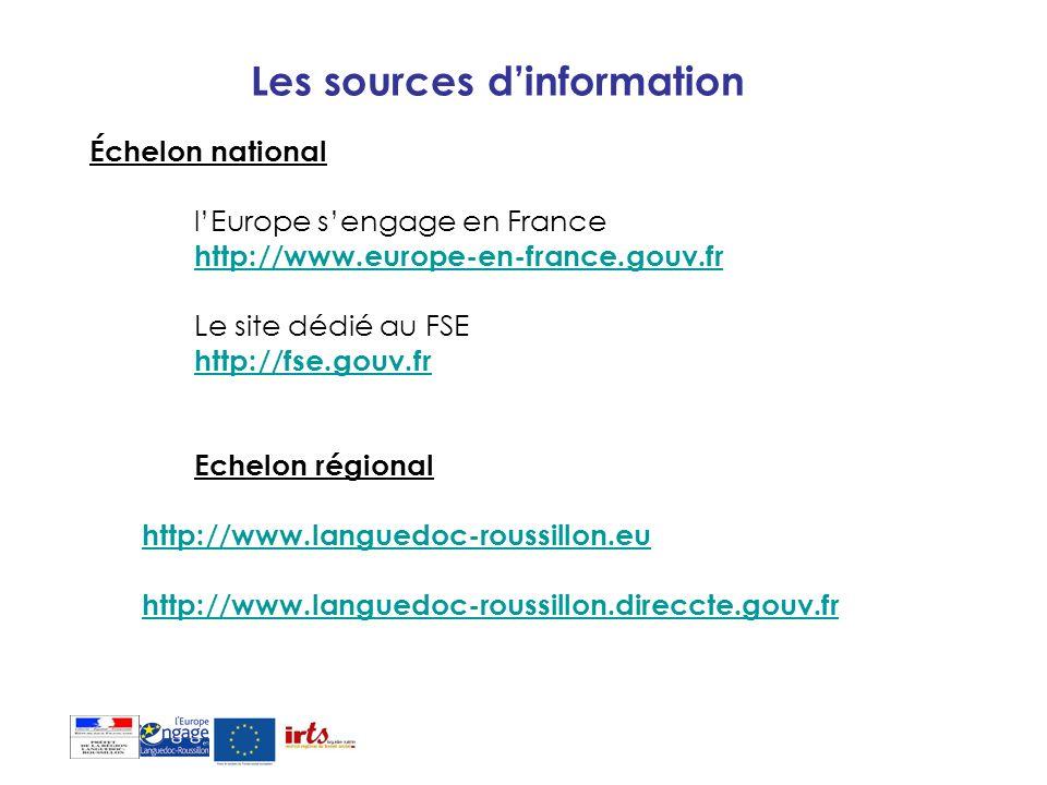Les sources dinformation Échelon national lEurope sengage en France http://www.europe-en-france.gouv.fr Le site dédié au FSE http://fse.gouv.fr Echelo