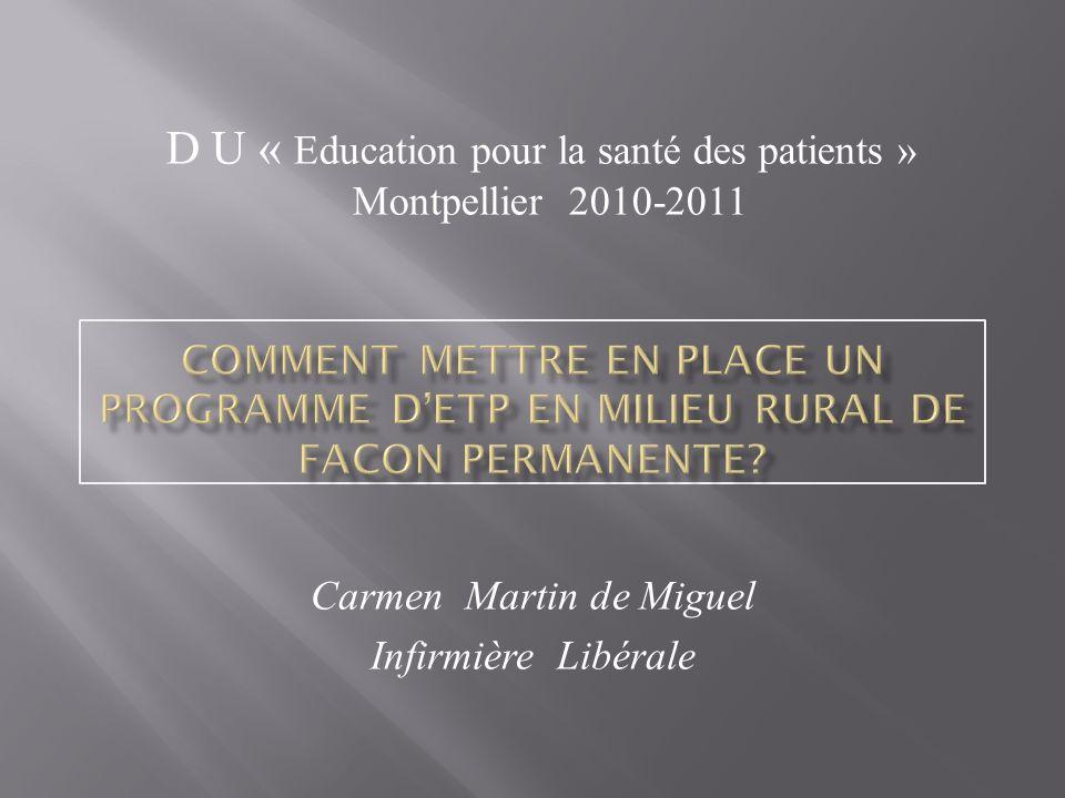 Carmen Martin de Miguel Infirmière Libérale D U « Education pour la santé des patients » Montpellier 2010-2011