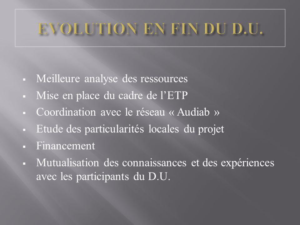 Meilleure analyse des ressources Mise en place du cadre de lETP Coordination avec le réseau « Audiab » Etude des particularités locales du projet Financement Mutualisation des connaissances et des expériences avec les participants du D.U.