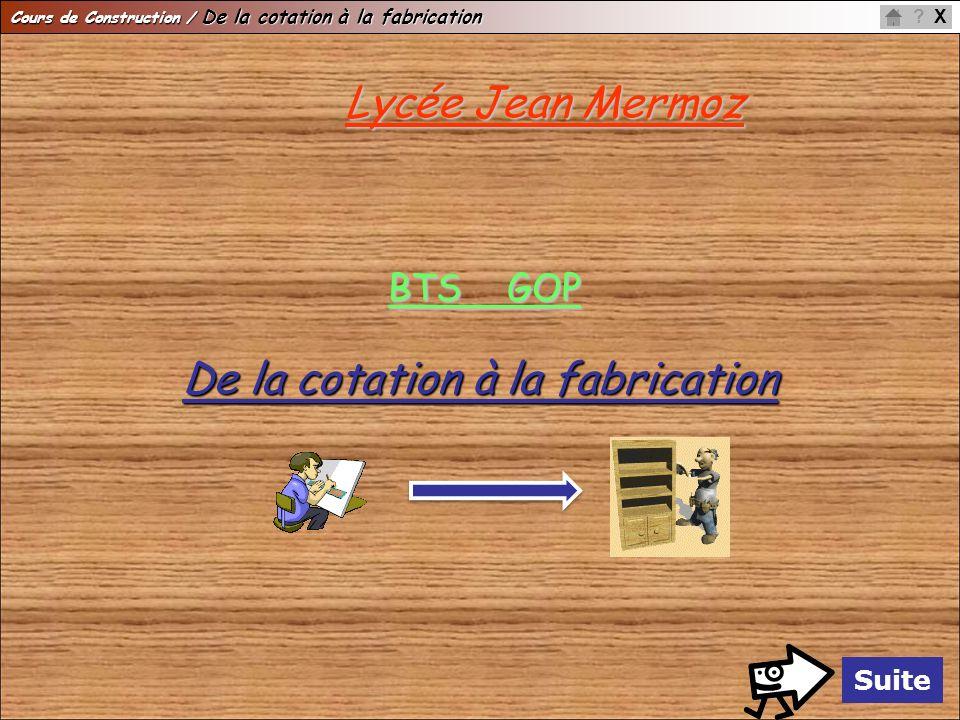 Cours de Construction / De la cotation à la fabrication X? Suite Lycée Jean Mermoz BTS GOP De la cotation à la fabrication