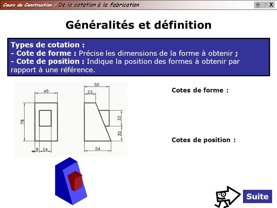 Cours de Construction / De la cotation à la fabrication X? Généralités et définition Suite Types de cotation : - Cote de forme : Précise les dimension