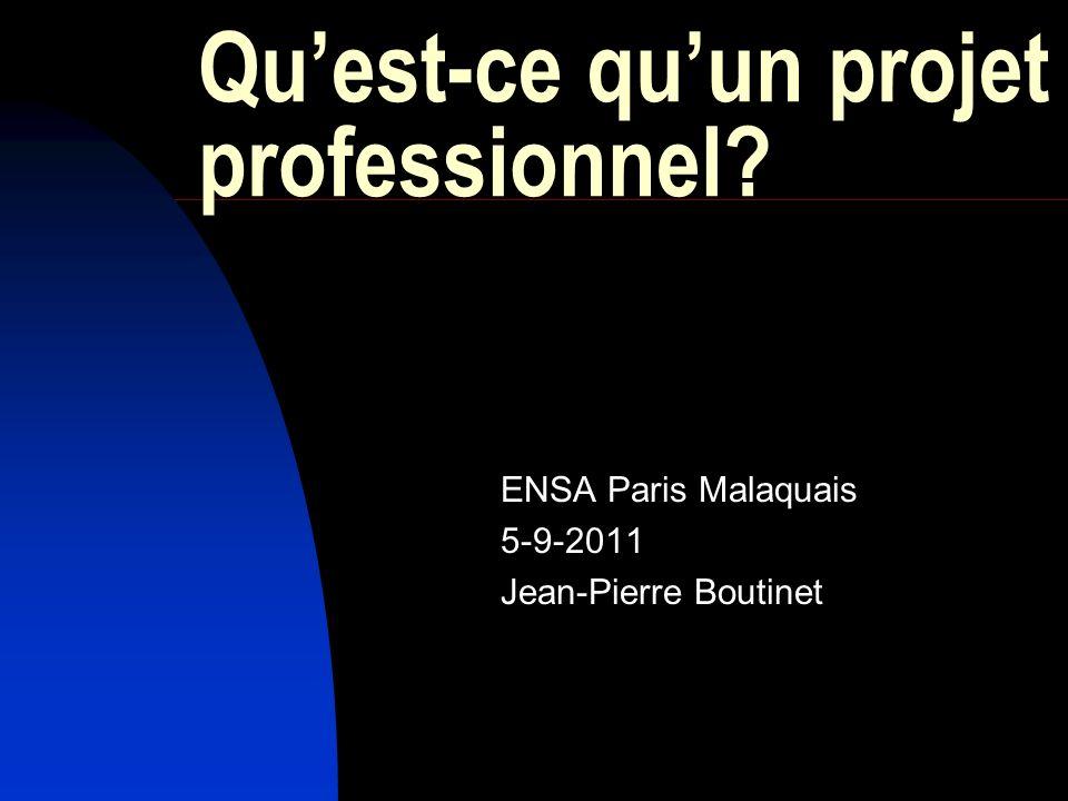 Quest-ce quun projet professionnel? ENSA Paris Malaquais 5-9-2011 Jean-Pierre Boutinet