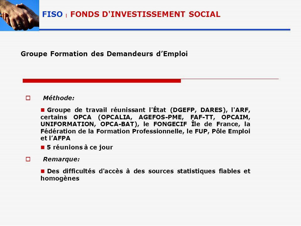 Groupe Formation des Demandeurs dEmploi Méthode: Groupe de travail réunissant l État (DGEFP, DARES), l ARF, certains OPCA (OPCALIA, AGEFOS-PME, FAF-TT, OPCAIM, UNIFORMATION, OPCA-BAT), le FONGECIF Île de France, la Fédération de la Formation Professionnelle, le FUP, Pôle Emploi et lAFPA 5 réunions à ce jour Remarque: Des difficultés d accès à des sources statistiques fiables et homogènes FISO | FONDS D INVESTISSEMENT SOCIAL