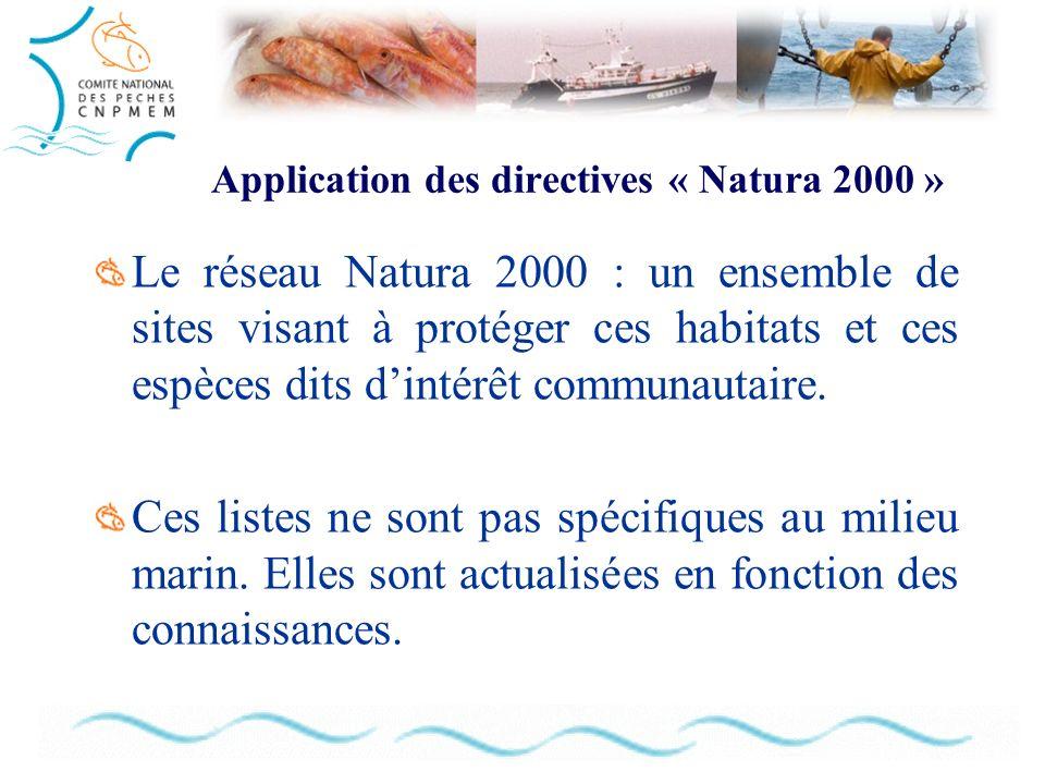Application des directives « Natura 2000 » Le réseau Natura 2000 : un ensemble de sites visant à protéger ces habitats et ces espèces dits dintérêt communautaire.