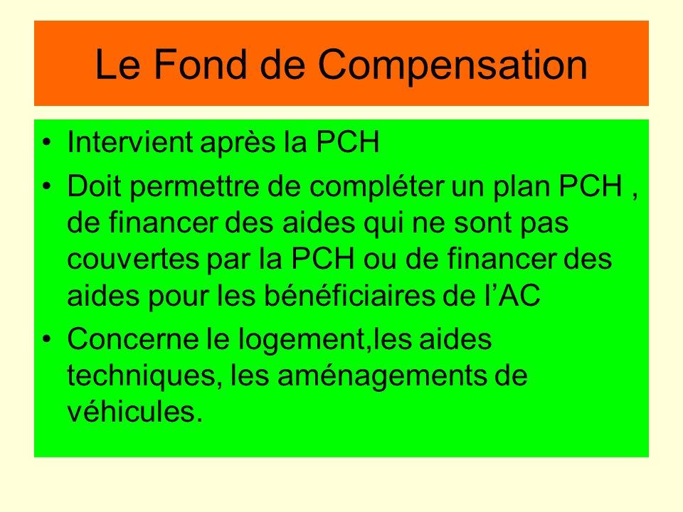Le Fond de Compensation Intervient après la PCH Doit permettre de compléter un plan PCH, de financer des aides qui ne sont pas couvertes par la PCH ou
