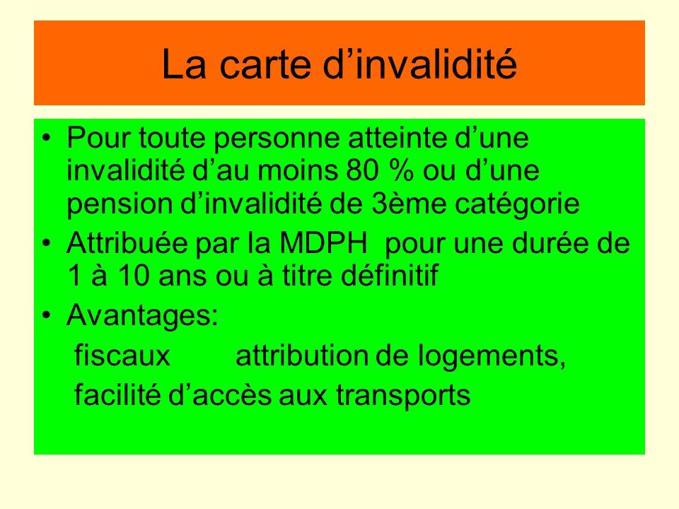 La carte dinvalidité Pour toute personne atteinte dune invalidité dau moins 80 % ou dune pension dinvalidité de 3ème catégorie Attribuée par la MDPH p