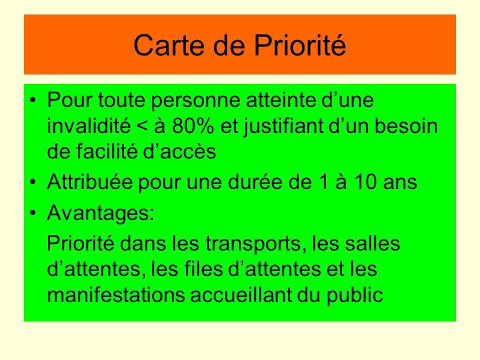 Carte de Priorité Pour toute personne atteinte dune invalidité < à 80% et justifiant dun besoin de facilité daccès Attribuée pour une durée de 1 à 10