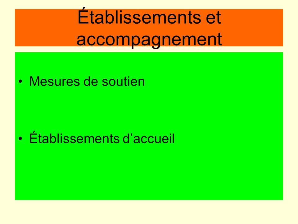 Établissements et accompagnement Mesures de soutien Établissements daccueil
