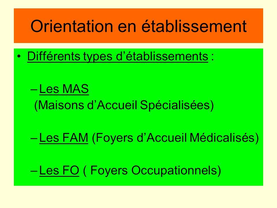 Orientation en établissement Différents types détablissements : –Les MAS (Maisons dAccueil Spécialisées) –Les FAM (Foyers dAccueil Médicalisés) –Les F