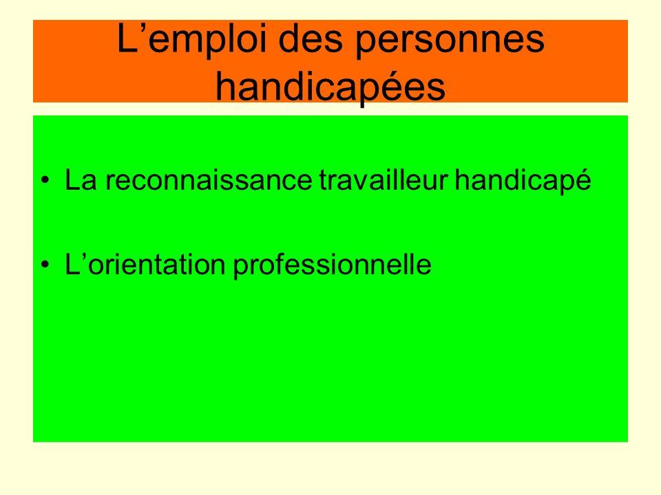 Lemploi des personnes handicapées La reconnaissance travailleur handicapé Lorientation professionnelle