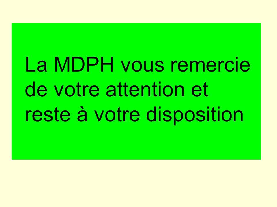 La MDPH vous remercie de votre attention et reste à votre disposition