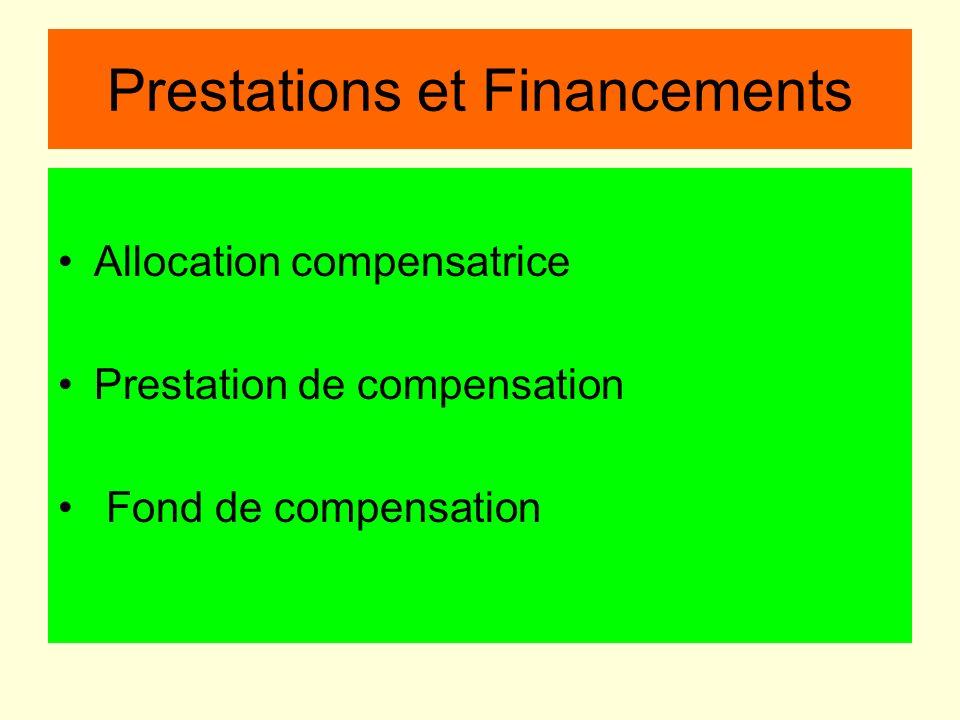 Prestations et Financements Allocation compensatrice Prestation de compensation Fond de compensation