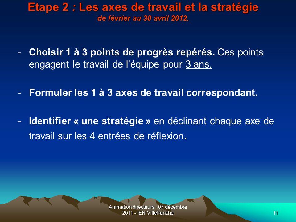 Animation directeurs - 07 décembre 2011 - IEN Villefranche11 Etape 2 : Les axes de travail et la stratégie de février au 30 avril 2012. -Choisir 1 à 3