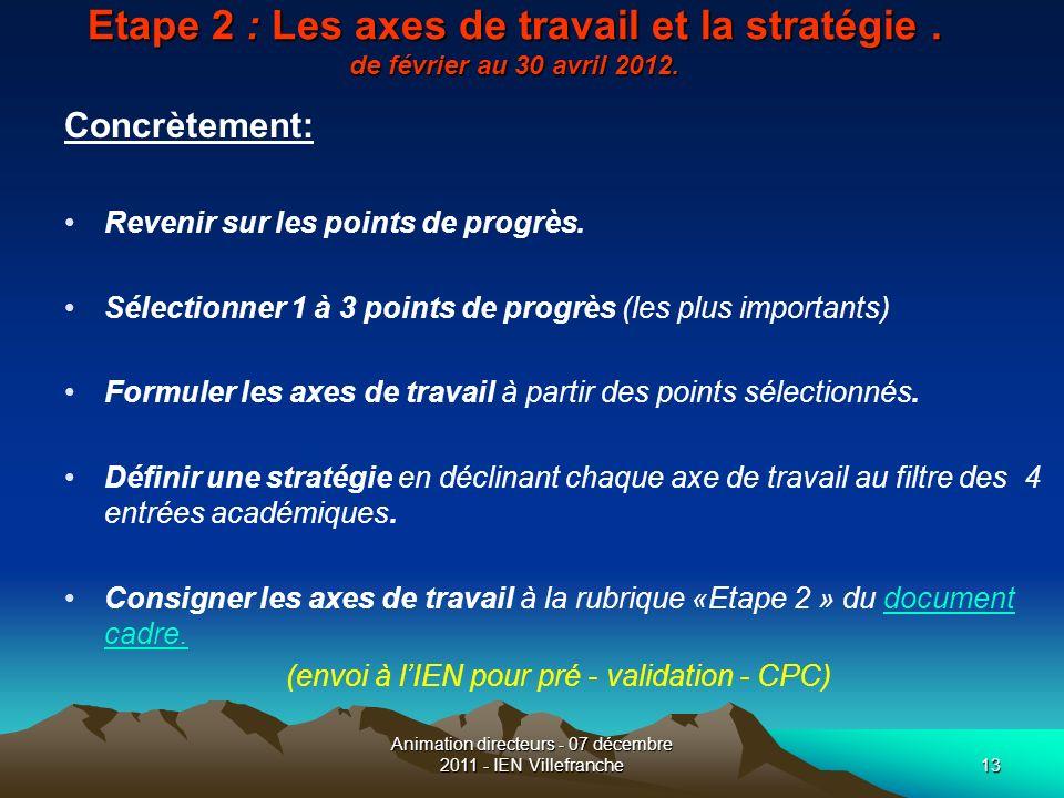 Animation directeurs - 07 décembre 2011 - IEN Villefranche13 Etape 2 : Les axes de travail et la stratégie. de février au 30 avril 2012. Concrètement: