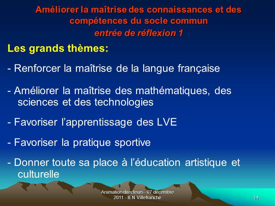 Animation directeurs - 07 décembre 2011 - IEN Villefranche14 Améliorer la maîtrise des connaissances et des compétences du socle commun entrée de réfl