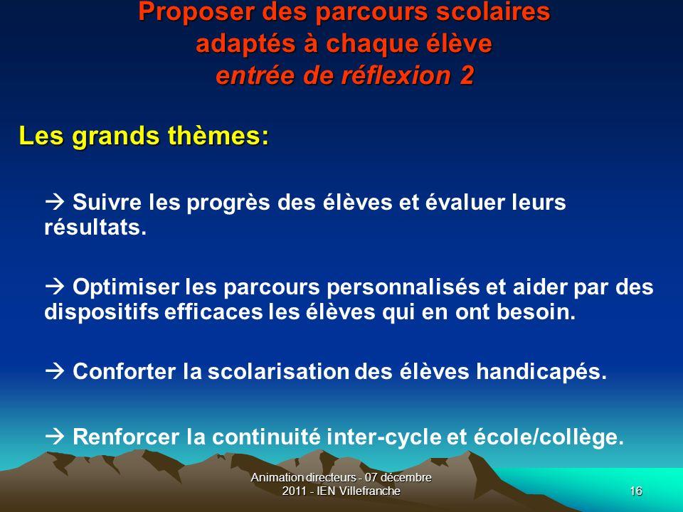 Animation directeurs - 07 décembre 2011 - IEN Villefranche16 Proposer des parcours scolaires adaptés à chaque élève entrée de réflexion 2 Les grands t