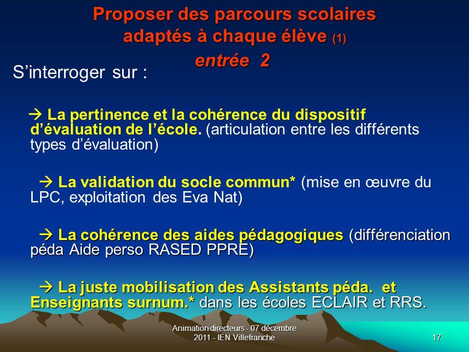 Animation directeurs - 07 décembre 2011 - IEN Villefranche17 Proposer des parcours scolaires adaptés à chaque élève (1) entrée 2 Proposer des parcours