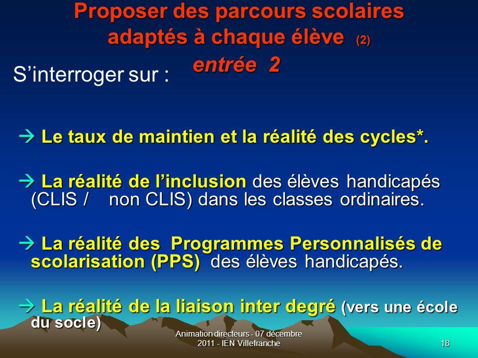 Animation directeurs - 07 décembre 2011 - IEN Villefranche18 Proposer des parcours scolaires adaptés à chaque élève (2) entrée 2 Proposer des parcours