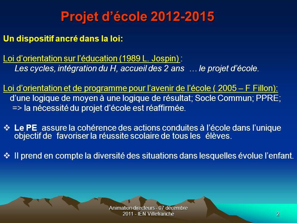 Animation directeurs - 07 décembre 2011 - IEN Villefranche2 Projet décole 2012-2015 Un dispositif ancré dans la loi: Loi dorientation sur léducation (
