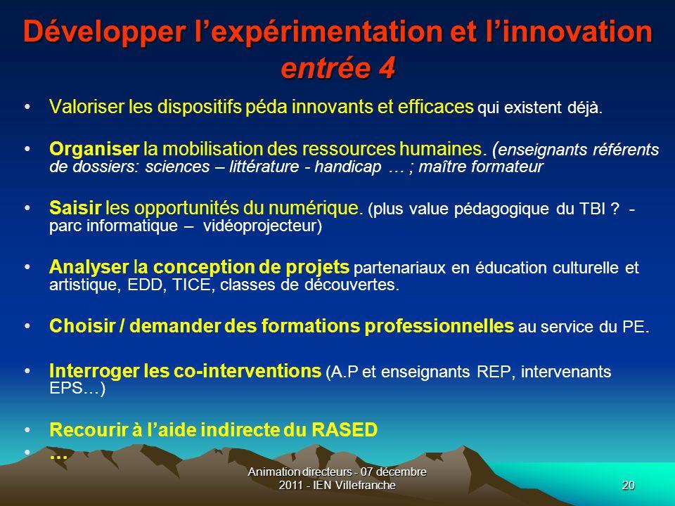 Animation directeurs - 07 décembre 2011 - IEN Villefranche20 Développer lexpérimentation et linnovation entrée 4 Valoriser les dispositifs péda innova