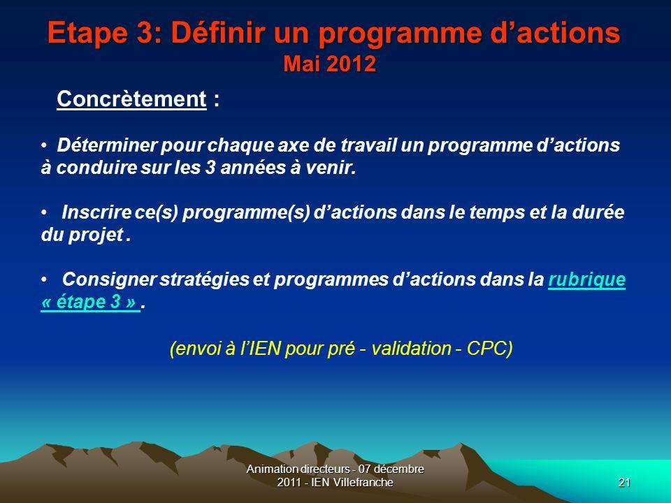 Animation directeurs - 07 décembre 2011 - IEN Villefranche21 Etape 3: Définir un programme dactions Mai 2012 Etape 3: Définir un programme dactions Ma