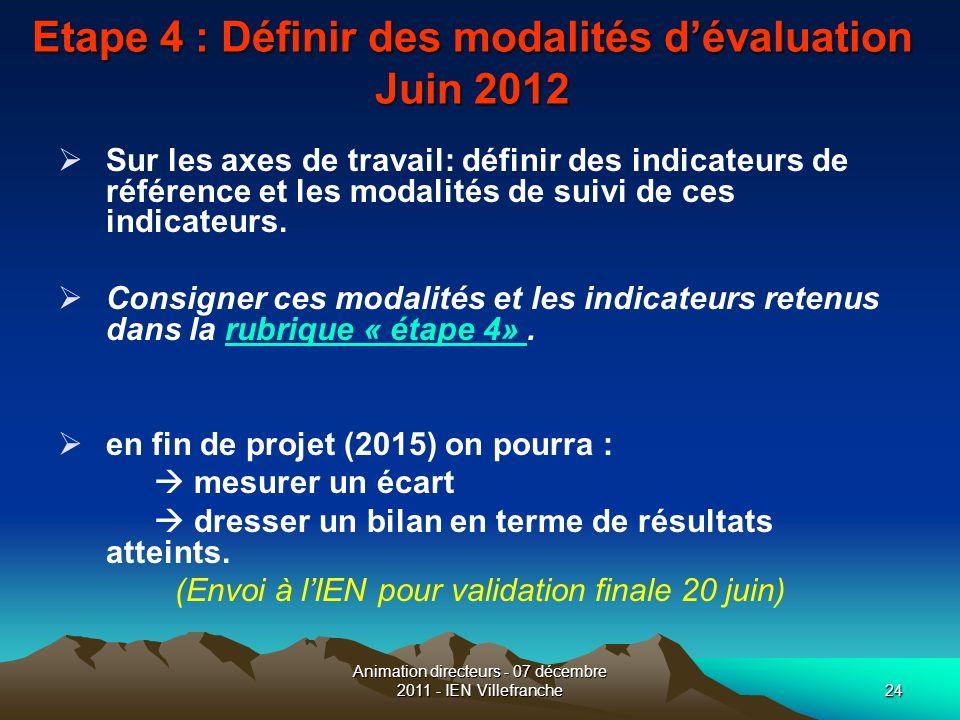 Animation directeurs - 07 décembre 2011 - IEN Villefranche24 Etape 4 : Définir des modalités dévaluation Juin 2012 Sur les axes de travail: définir de