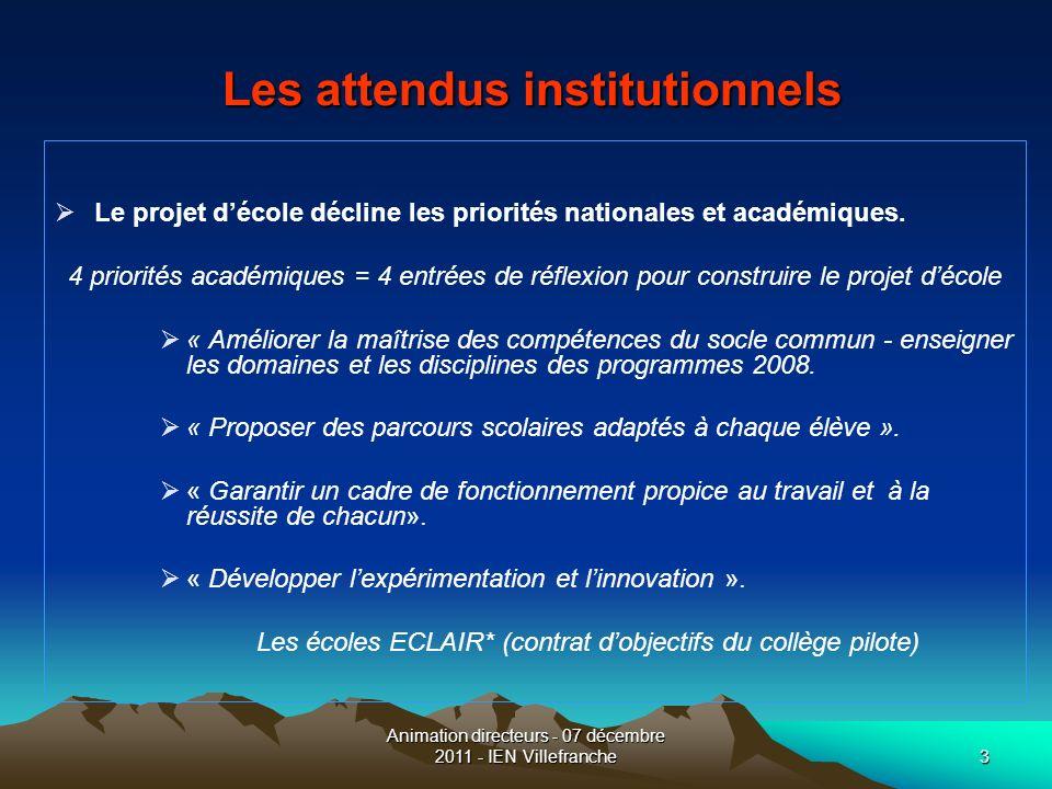 Animation directeurs - 07 décembre 2011 - IEN Villefranche3 Les attendus institutionnels Les attendus institutionnels Le projet décole décline les pri