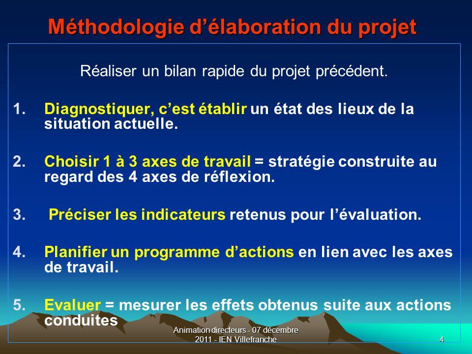Animation directeurs - 07 décembre 2011 - IEN Villefranche4 Méthodologie délaboration du projet Réaliser un bilan rapide du projet précédent. 1.Diagno