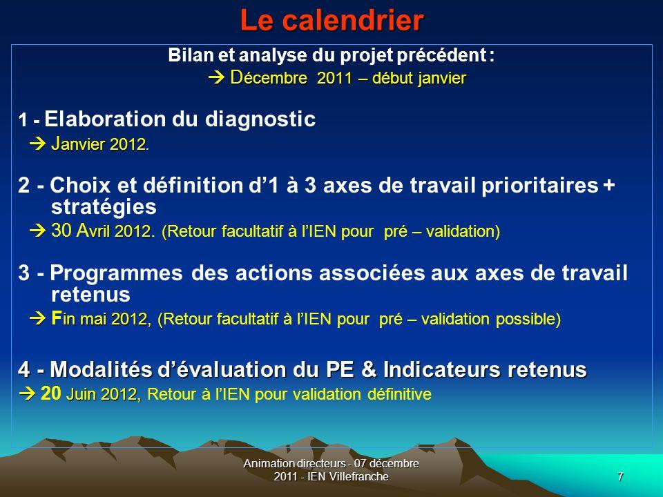 7 Le calendrier Bilan et analyse du projet précédent : D écembre 2011 – début janvier D écembre 2011 – début janvier 1 - Elaboration du diagnostic J a