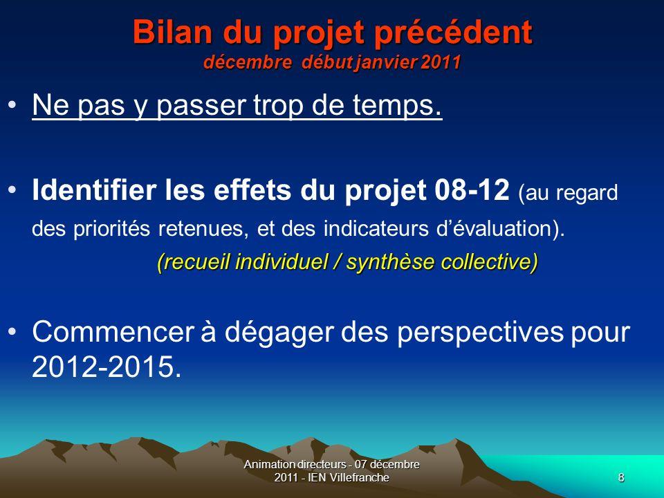Animation directeurs - 07 décembre 2011 - IEN Villefranche8 Bilan du projet précédent décembre début janvier 2011 Ne pas y passer trop de temps. Ident
