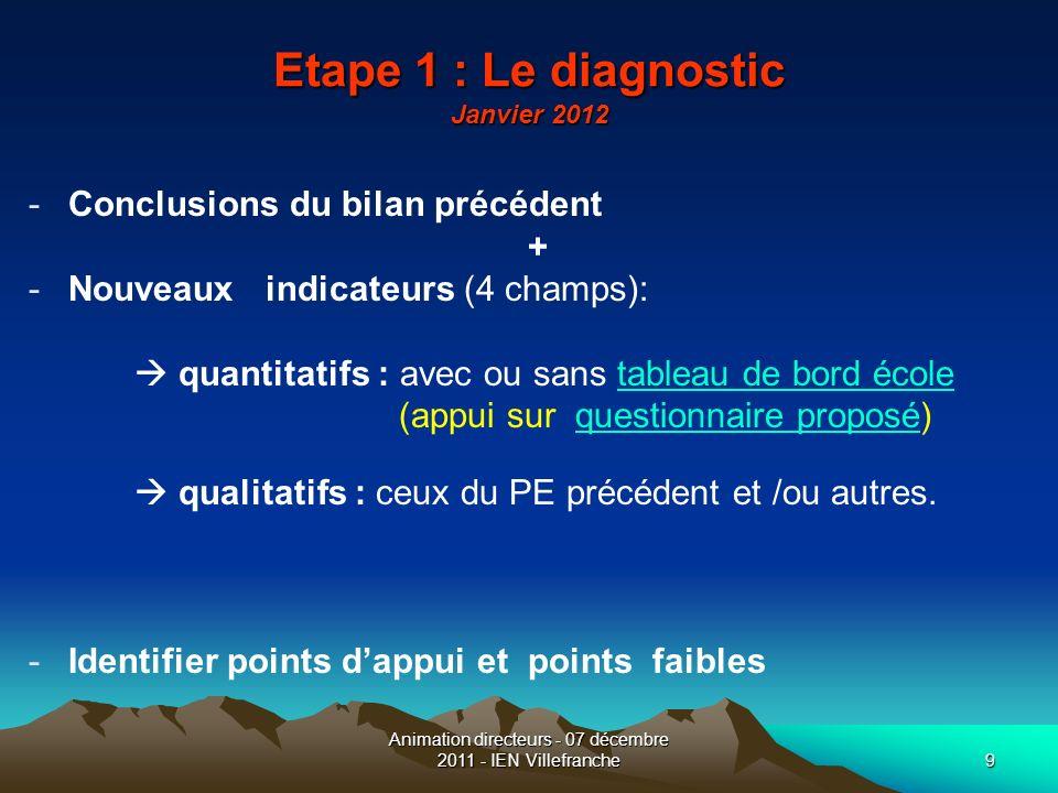 Animation directeurs - 07 décembre 2011 - IEN Villefranche9 Etape 1 : Le diagnostic Janvier 2012 -Conclusions du bilan précédent + -Nouveaux indicateu