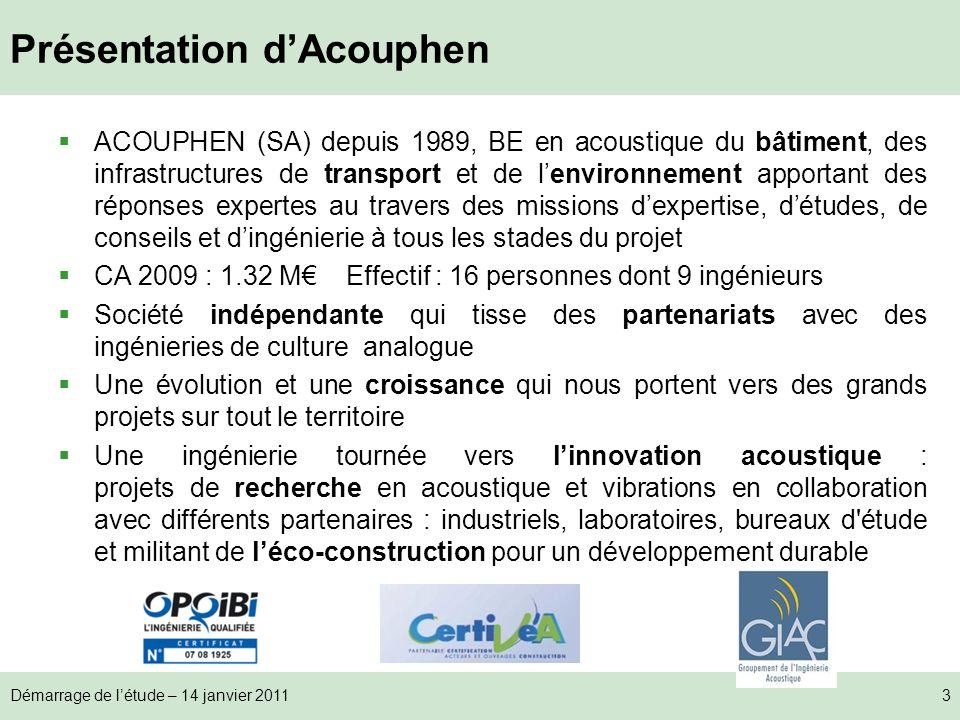 Démarrage de létude – 14 janvier 20113 Présentation dAcouphen ACOUPHEN (SA) depuis 1989, BE en acoustique du bâtiment, des infrastructures de transpor