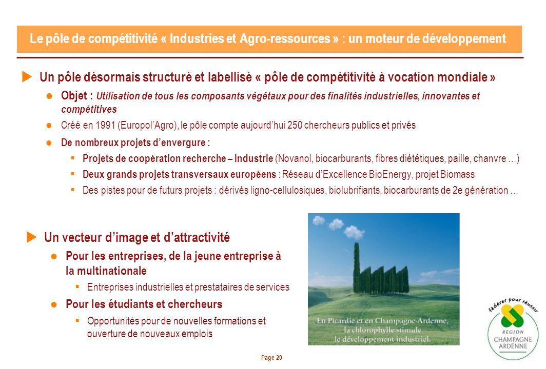 Page 20 Un pôle désormais structuré et labellisé « pôle de compétitivité à vocation mondiale » Objet : Utilisation de tous les composants végétaux pour des finalités industrielles, innovantes et compétitives Créé en 1991 (EuropolAgro), le pôle compte aujourdhui 250 chercheurs publics et privés De nombreux projets denvergure : Projets de coopération recherche – industrie (Novanol, biocarburants, fibres diététiques, paille, chanvre …) Deux grands projets transversaux européens : Réseau dExcellence BioEnergy, projet Biomass Des pistes pour de futurs projets : dérivés ligno-cellulosiques, biolubrifiants, biocarburants de 2e génération … Le pôle de compétitivité « Industries et Agro-ressources » : un moteur de développement Un vecteur dimage et dattractivité Pour les entreprises, de la jeune entreprise à la multinationale Entreprises industrielles et prestataires de services Pour les étudiants et chercheurs Opportunités pour de nouvelles formations et ouverture de nouveaux emplois