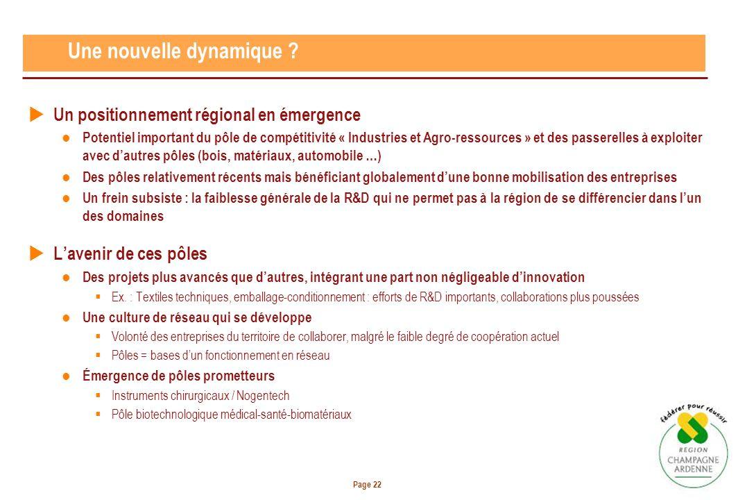 Page 22 Une nouvelle dynamique ? Un positionnement régional en émergence Potentiel important du pôle de compétitivité « Industries et Agro-ressources