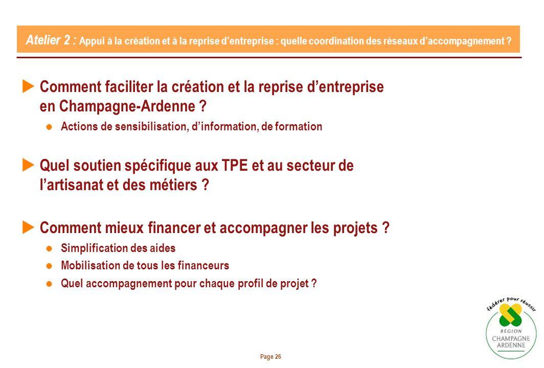 Page 26 Atelier 2 : Appui à la création et à la reprise dentreprise : quelle coordination des réseaux daccompagnement .