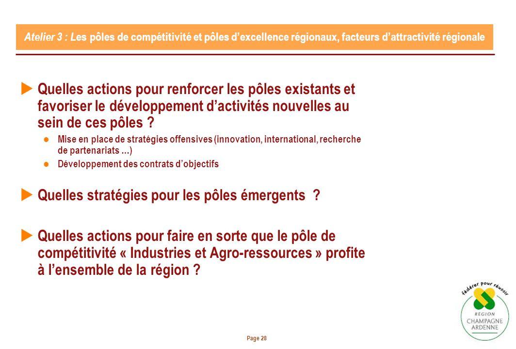 Page 28 Atelier 3 : L es pôles de compétitivité et pôles dexcellence régionaux, facteurs dattractivité régionale Quelles actions pour renforcer les pôles existants et favoriser le développement dactivités nouvelles au sein de ces pôles .