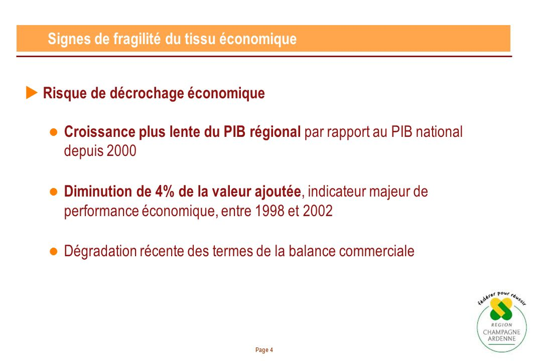 Page 4 Signes de fragilité du tissu économique Risque de décrochage économique Croissance plus lente du PIB régional par rapport au PIB national depuis 2000 Diminution de 4% de la valeur ajoutée, indicateur majeur de performance économique, entre 1998 et 2002 Dégradation récente des termes de la balance commerciale