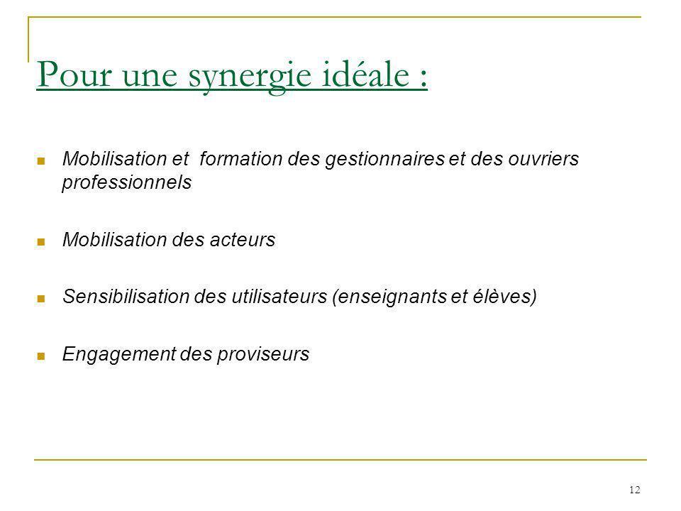 12 Pour une synergie idéale : Mobilisation et formation des gestionnaires et des ouvriers professionnels Mobilisation des acteurs Sensibilisation des utilisateurs (enseignants et élèves) Engagement des proviseurs
