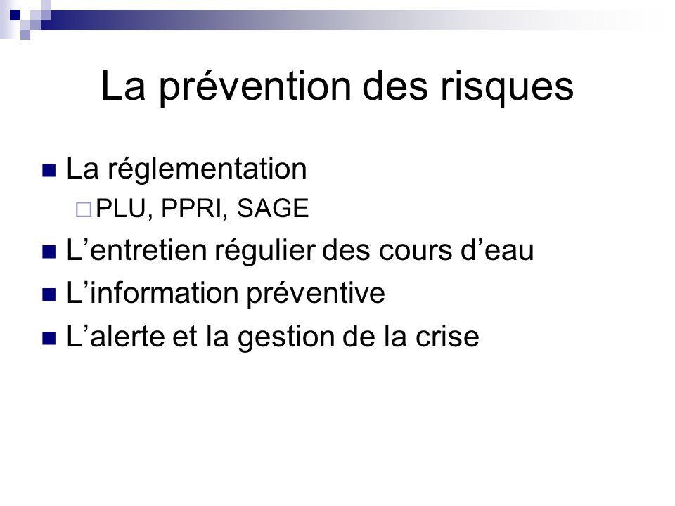 La prévention des risques La réglementation PLU, PPRI, SAGE Lentretien régulier des cours deau Linformation préventive Lalerte et la gestion de la crise